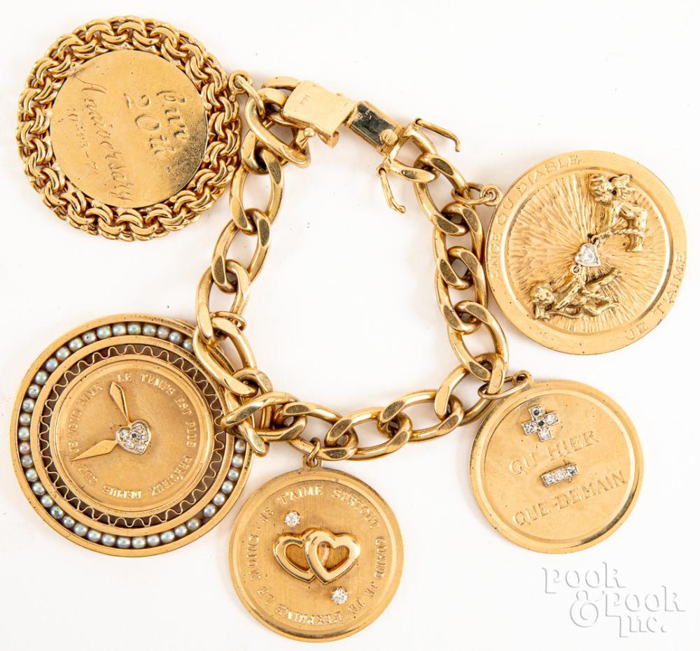 14K gold, diamond, & seed pearl charm bracelet