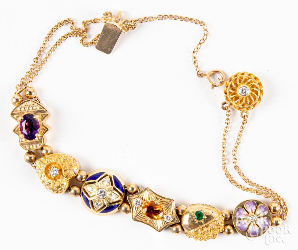14K gold, diamond, & colored stone bracelet