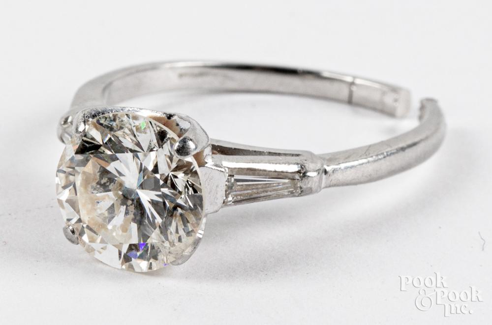 Platinum diamond solitaire ring, 3.7dwt.