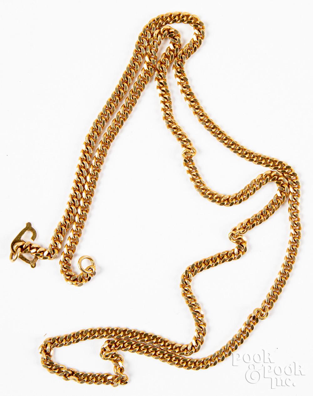 18K gold necklace, 17.2dwt.