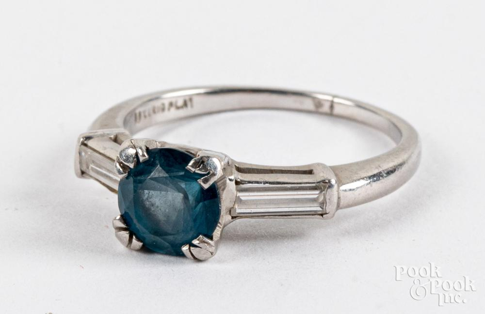 Platinum, diamond, and colored stone ring