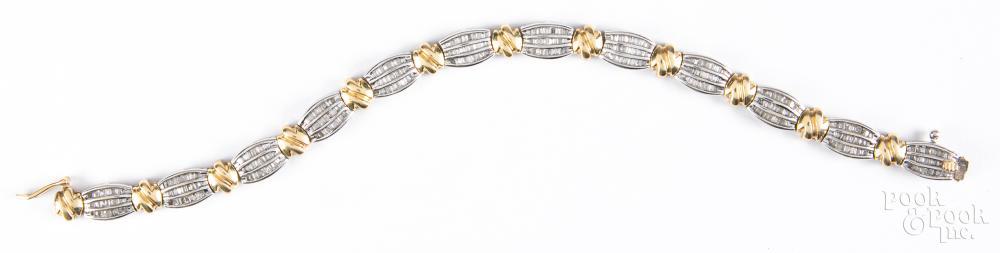 14K gold and diamond bracelet, 10.4dwt.