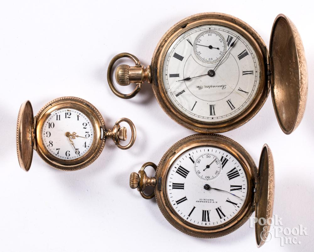 Three gold filled pocket watches.