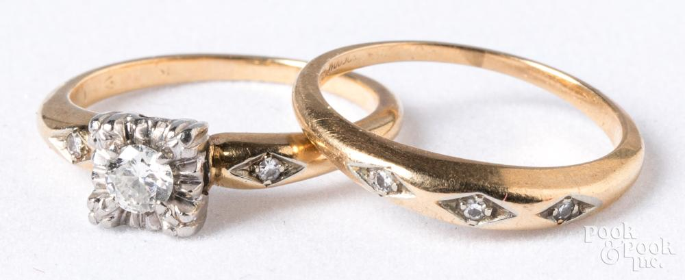 14K gold and diamond wedding band set, 3.2dwt.