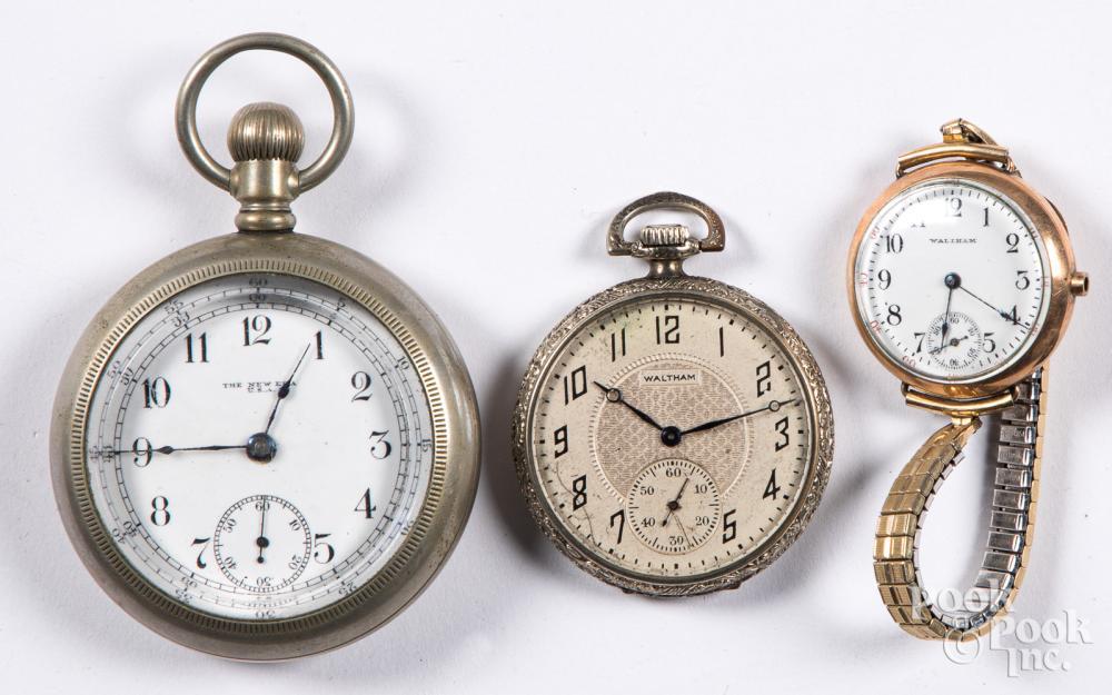 Two Waltham pocket watches, etc.