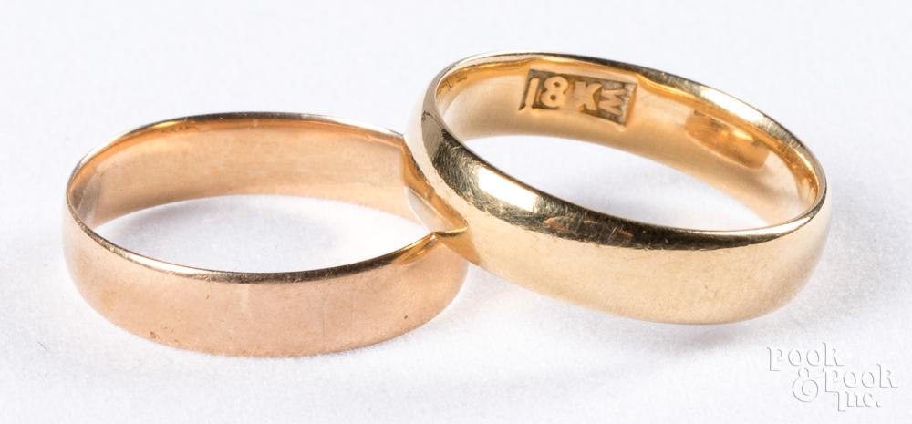 Two 18K gold bands, 3.1dwt.