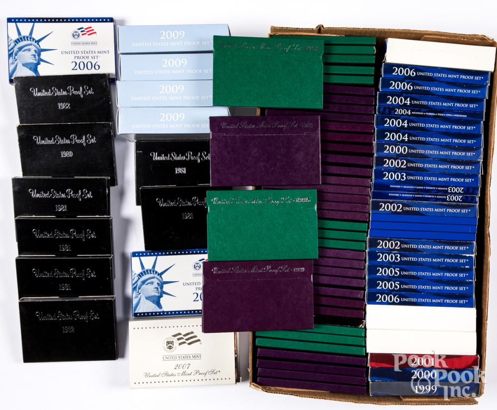 Eighty-two US Mint and Mint Proof sets