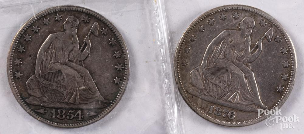 Two Seated Liberty half dollars, 1854 and 1876.