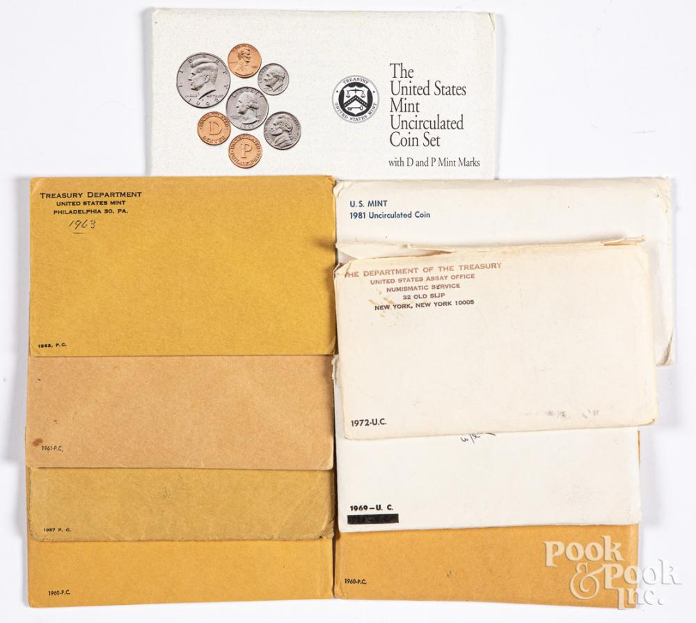 US mint sets, to include 1957, 1960, 1961, etc.