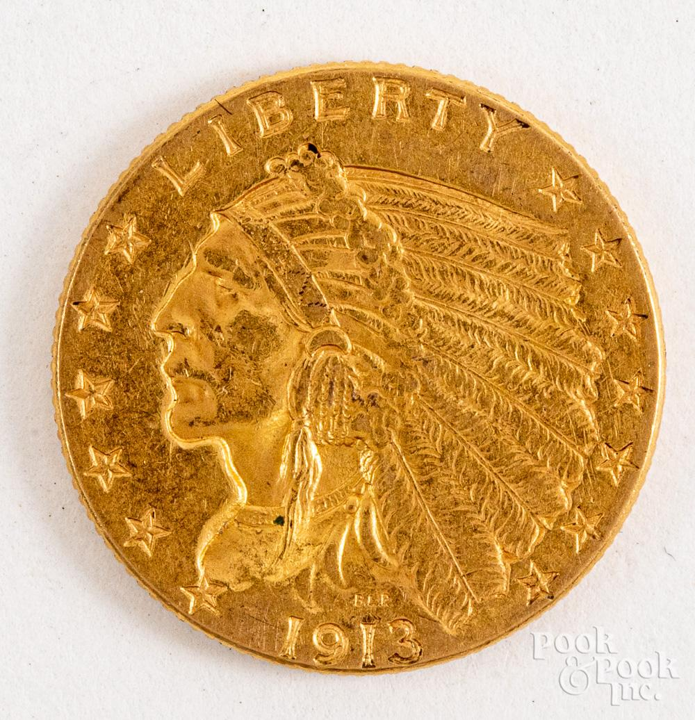 1913 Indian Head two and a half dollar gold coin