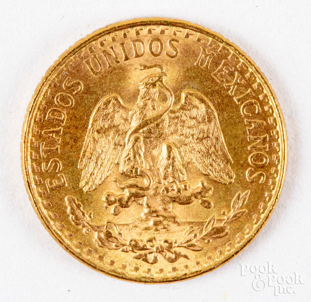 1945 gold two peso coin, 1.1dwt.