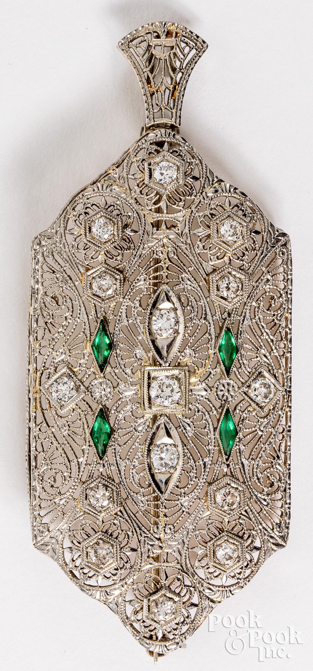14K gold, diamond, and emerald pendant pin, 5 dwt.