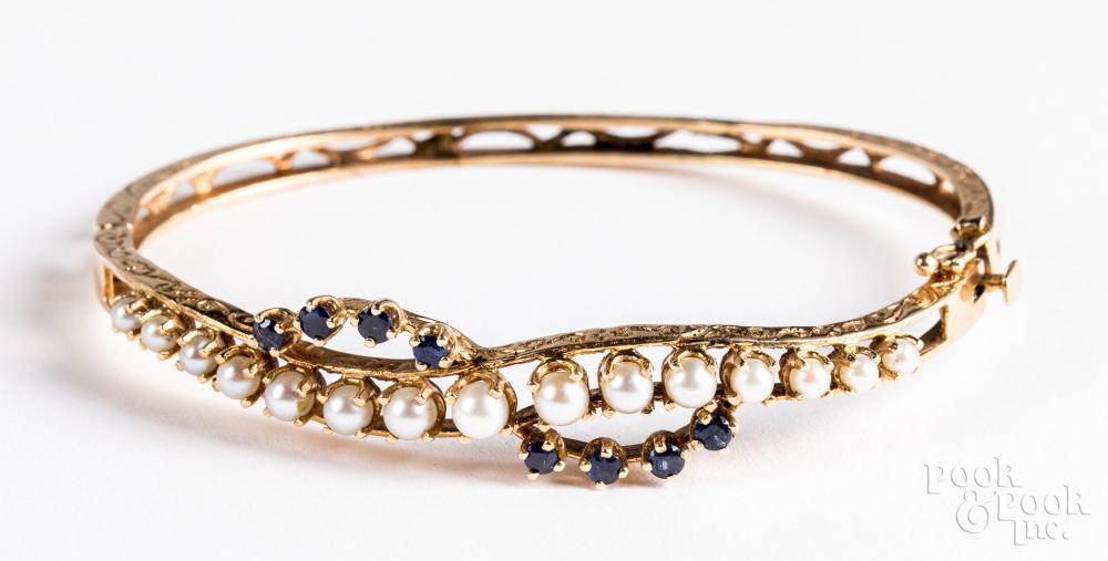 14K gold, pearl, and gemstone bracelet, 10.5 dwt.