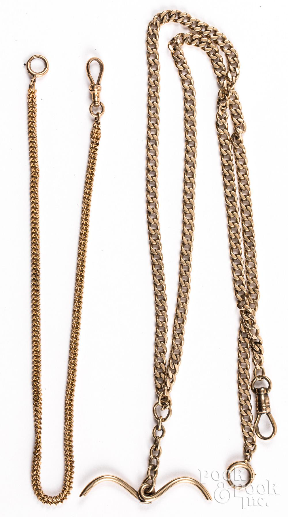 Two 14K gold watch fob chains, 32.4 dwt.