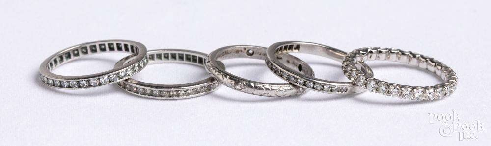 Five Platinum and diamond bands, 9.1 dwt.