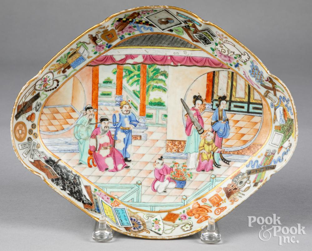 Chinese export rose medallion footed serving dish
