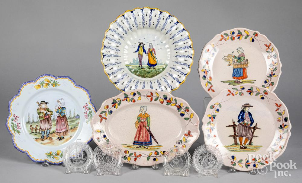 Group of French Quimper faience plates