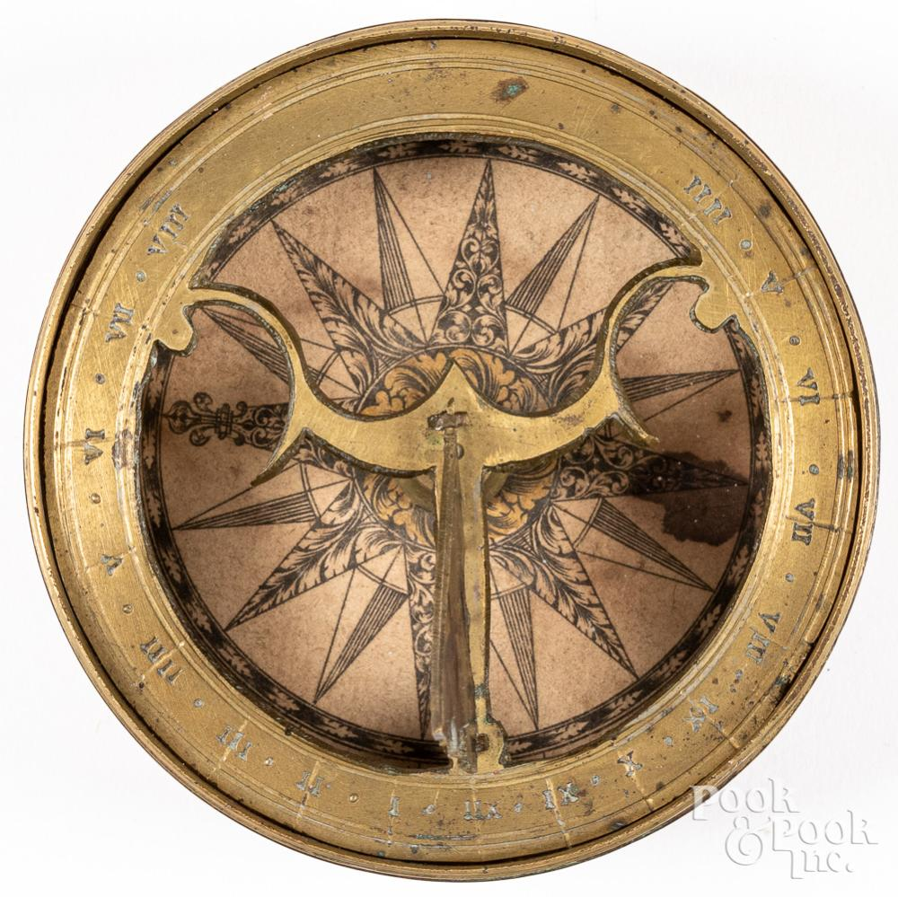 Brass pocket sundial compass, early 19th c.
