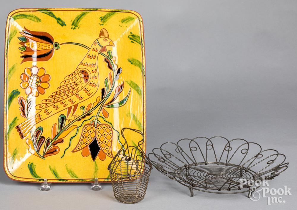 Lester Breininger redware platter, dated 2003