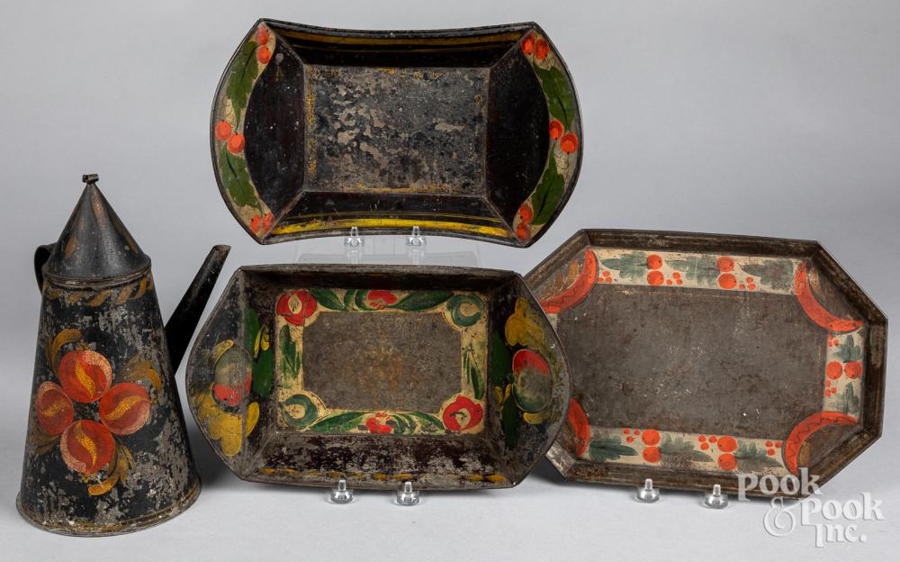 Four pieces of toleware
