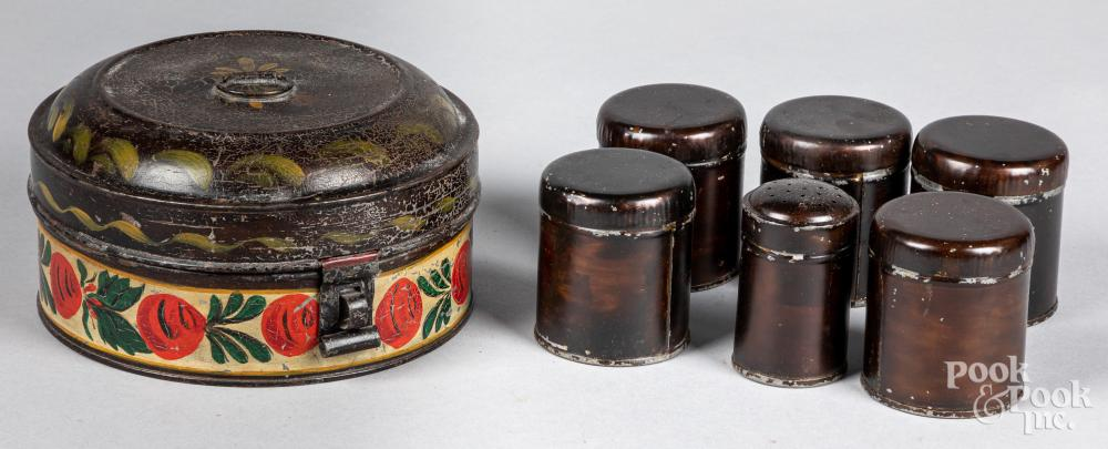 Toleware spice canister, late 19th c.