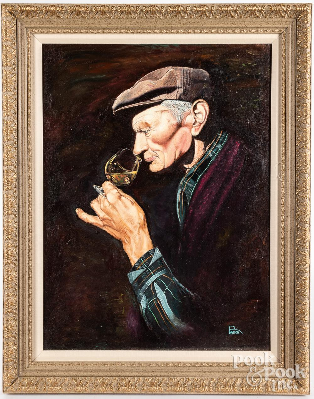 Oil on canvas portrait of a man with snifter
