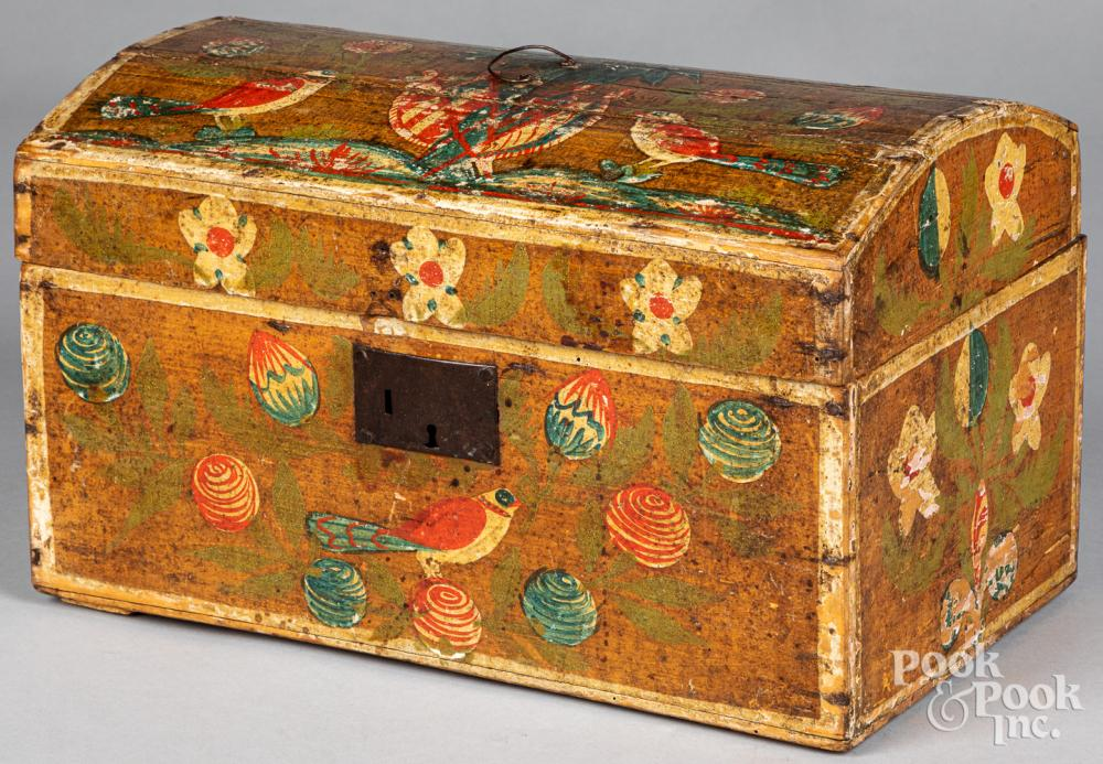 Continental painted dome top box, 19th c.