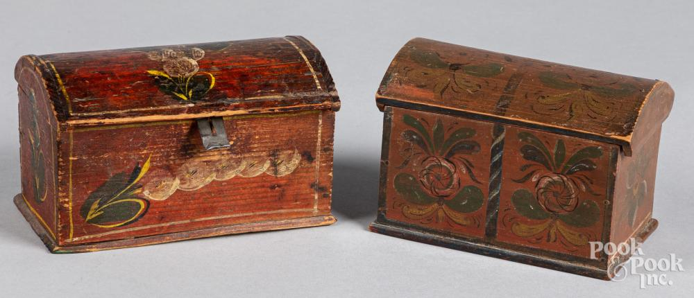Two Continental painted dome lid boxes, 19th c.