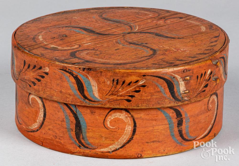 Scandinavian painted bentwood box, 19th c.