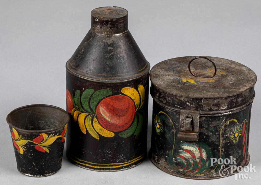 Three pieces of toleware, 19th c.