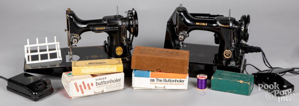 Singer Featherweight cased sewing machine, etc.