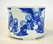 19/20th Chinese Blue & White Brush Pot