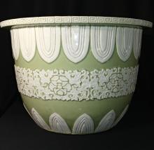 Chinese Carved Celadon Glazed  Porcelain Planter