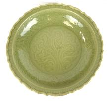 Chinese Large Celadon Longquan Glazed Charger