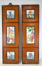 Pr Chinese Porcelain Plaque Wood Panels