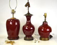 Three Chinese Red Lamp Bases