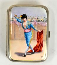 Enamel Silver Box w. Lady Matador