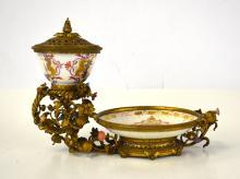 18th Cen. Meissen Bronze Mounted Cup & Saucer