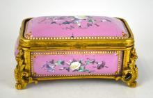 Pink Enamel Bronze Box