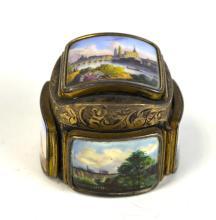 Swiss Silver Box Five Miniature enamel panels