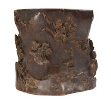 Finely Carved Chen Xiang Wood Brush Pot
