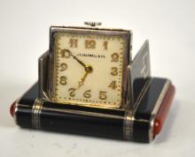 Silver Enamel J C Travel Watch