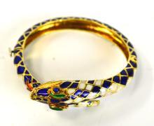 18K Gold Snake Enamel Bracelet