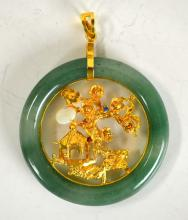 Chinese Jade Circle w 24K Gold Insert Pendant