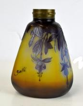 Galle Purple & Yellow Art Glass Vase