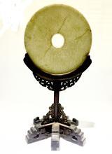 Chinese Round Bi Jade on Zitan Wood Stand