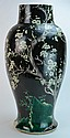 Chinese Massive Cherry Blossoms Black Vase 17th C