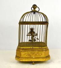 19 Cen. Bronze Singing Birdcage Music Box