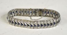 Platinum Bracelet with Diamonds & Sapphires