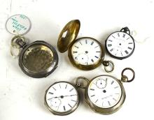 Five Pcs of Silver Pocket Watches & Case